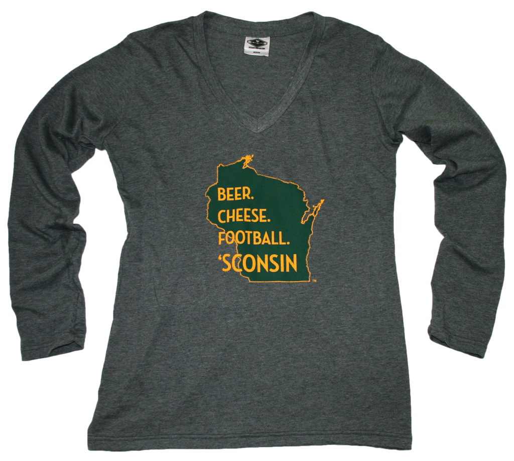 WISCONSIN LADIES LONG SLEEVE | BEER, CHEESE, FOOTBALL | GREEN/YELLOW