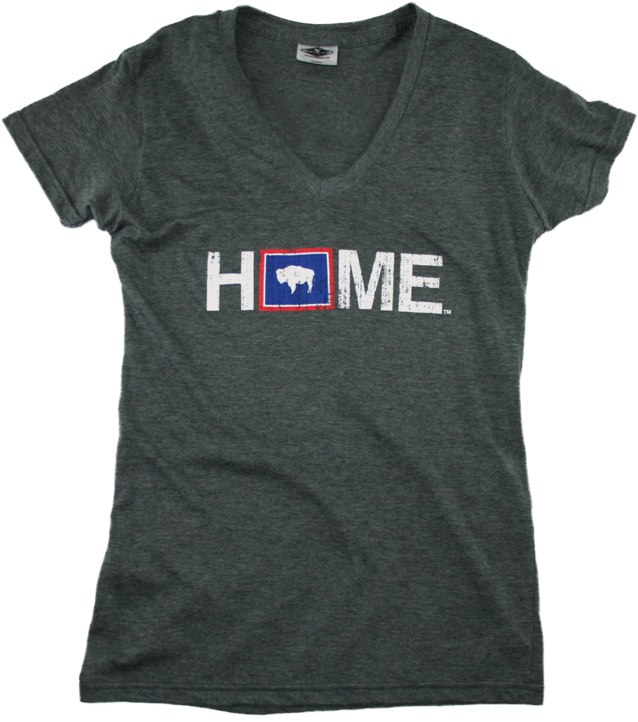 WYOMING LADIES V-NECK | HOME | FLAG