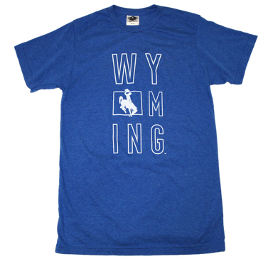 WYOMING BLUE TEE | STACKED LETTER | STACKED