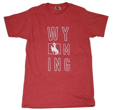 WYOMING RED TEE | STACKED LETTER | STACKED