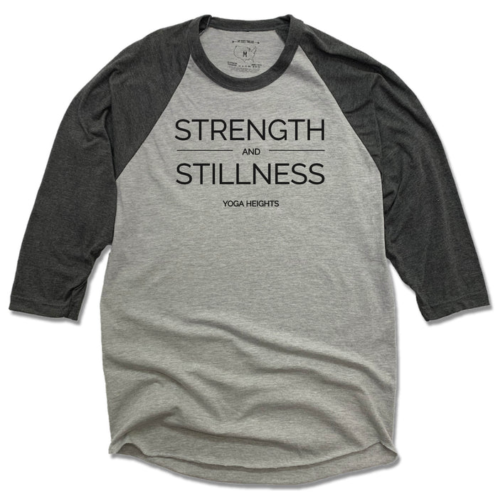 YOGA HEIGHTS | GRAY 3/4 SLEEVE | STRENGTH STILLNESS BLACK