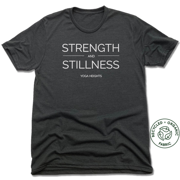 YOGA HEIGHTS | UNISEX BLACK Recycled Tri-Blend | STRENGTH STILLNESS WHITE