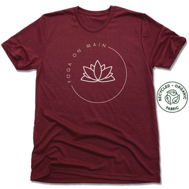 YOGA ON MAIN | UNISEX VINO RED Recycled Tri-Blend | WHITE LOGO