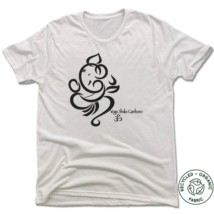 YOGA SHALA | UNISEX WHITE Recycled Tri-Blend | LOGO