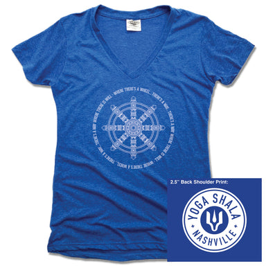 YOGA SHALA NASHVILLE | LADIES BLUE V-NECK | YOGA SHALA WHEEL LOGO