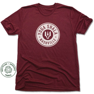 YOGA SHALA NASHVILLE | UNISEX VINO RED Recycled Tri-Blend | YOGA SHALA WHITE LOGO