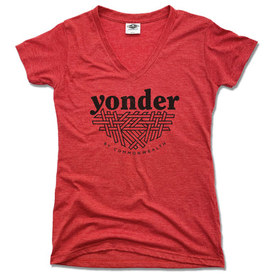 YONDER | LADIES RED V-NECK | BLACK LOGO