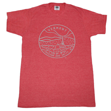 VERMONT RED TEE | STATE SEAL | FREEDOM AND UNITY