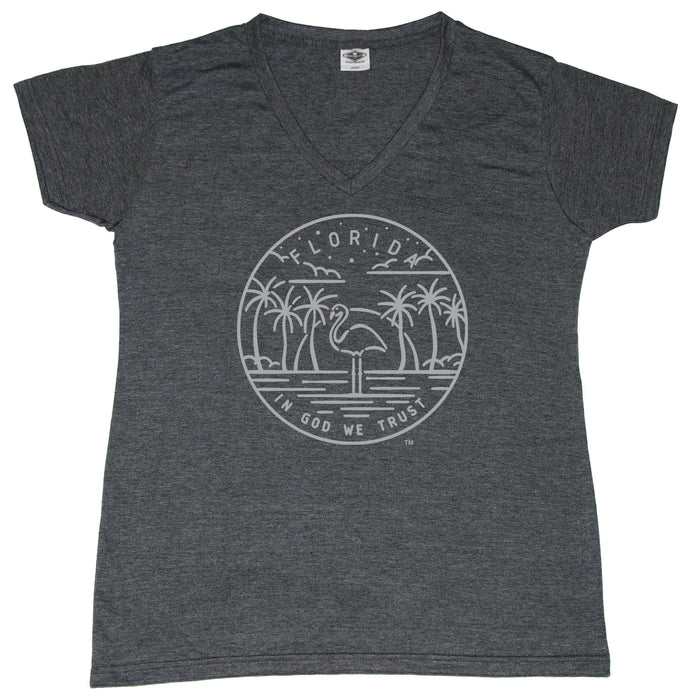 FLORIDA LADIES' V-NECK | STATE SEAL | IN GOD WE TRUST