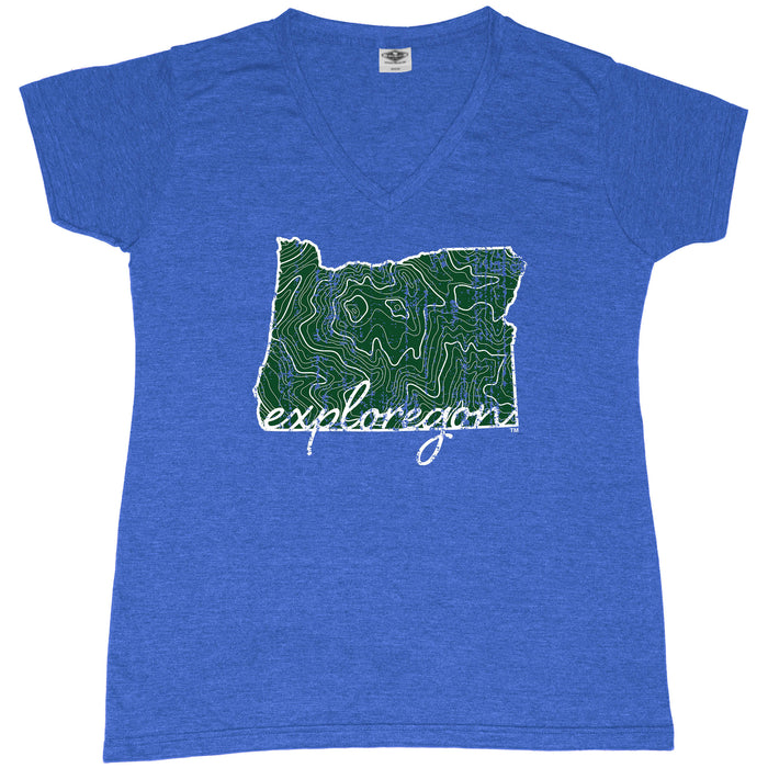 OREGON LADIES BLUE V-NECK | EXPLOREGON | MAP