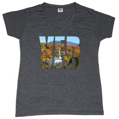 VERMONT LADIES' V-NECK | PHOTO LETTERS | TREES