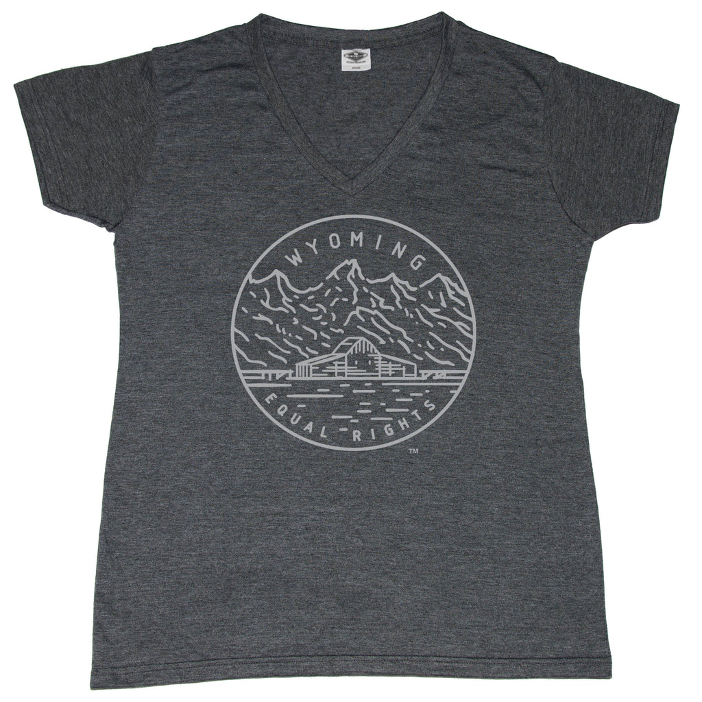 WYOMING LADIES' V-NECK | STATE SEAL | EQUAL RIGHTS