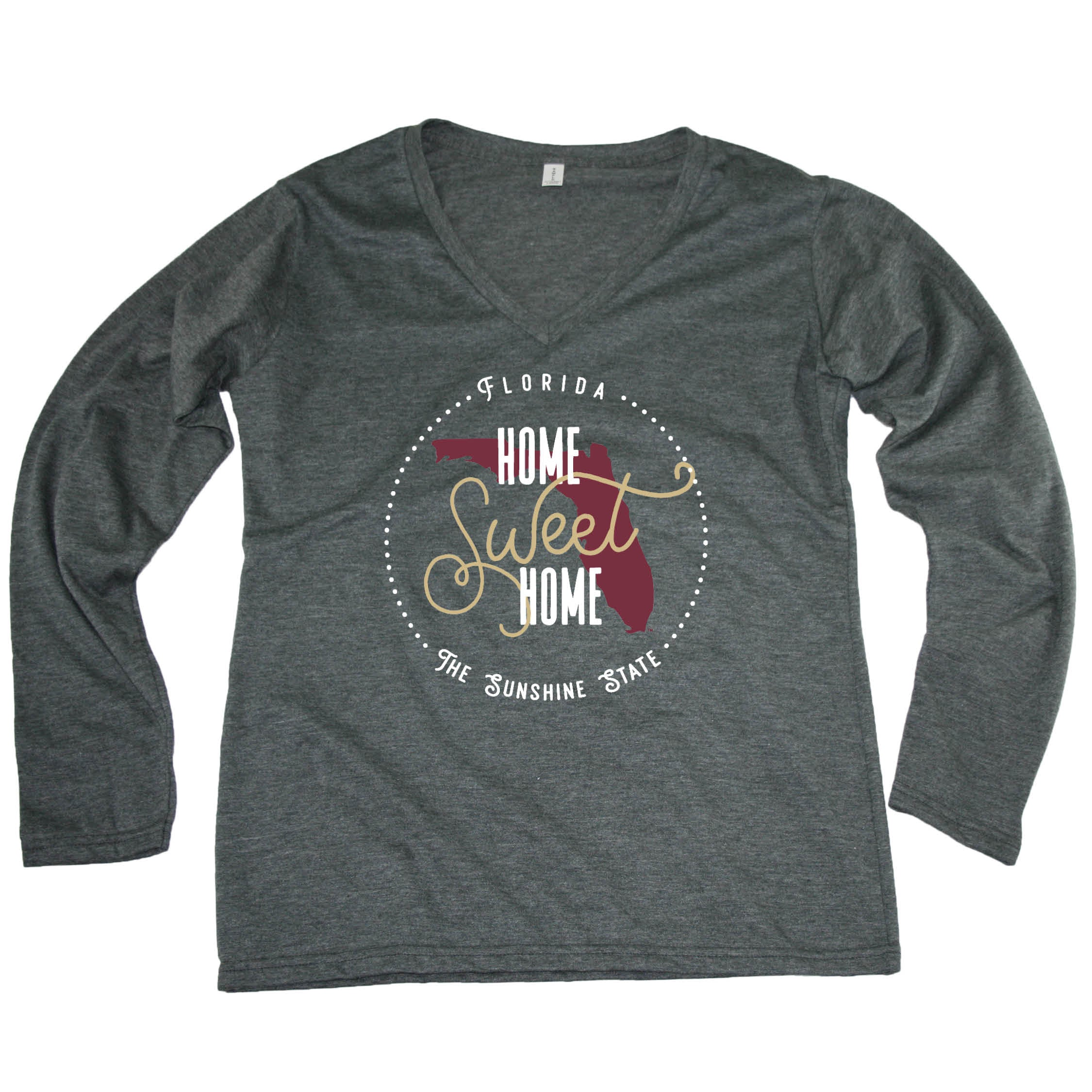 FLORIDA LADIES' LONG SLEEVE V-NECK | HOME SWEET HOME | GARNET/GOLD