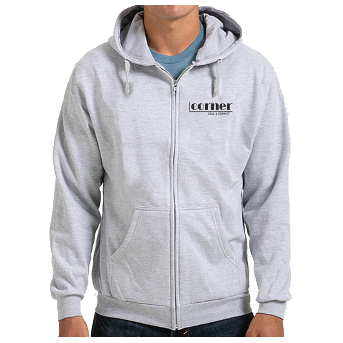 CORNER BAR | LIGHT GRAY ZIP HOODIE | BLACK LOGO