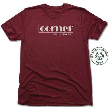 CORNER BAR | UNISEX VINO RED Recycled Tri-Blend | WHITE LOGO