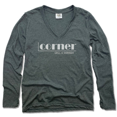CORNER BAR | LADIES' LONG SLEEVE TEE | WHITE LOGO