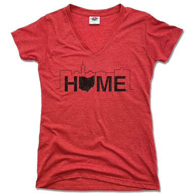 JK GIFT SHOP | LADIES RED V-NECK | HOME MEDINA SKYLINE