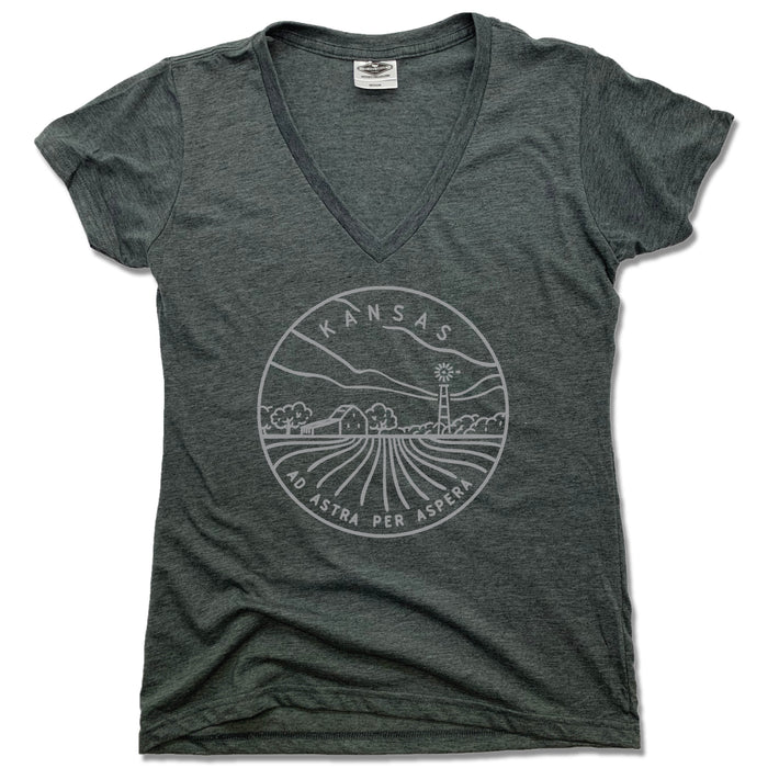 KANSAS LADIES' V-NECK | STATE SEAL | AD ASTRA PER ASPERA