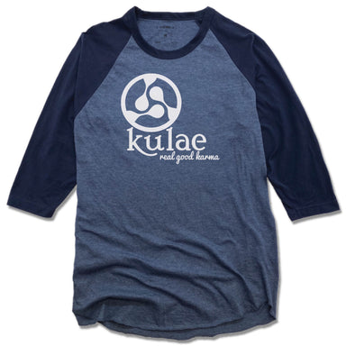 KULAE YOGA | DENIM/NAVY 3/4 SLEEVE | WHITE LOGO