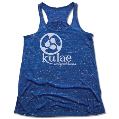 KULAE YOGA | LADIES BLUE FLOWY TANK | WHITE LOGO