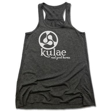 KULAE YOGA | LADIES GRAY FLOWY TANK | WHITE LOGO