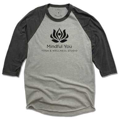 MINDFUL YOU YOGA & WELLNESS | GRAY 3/4 SLEEVE | BLACK LOGO