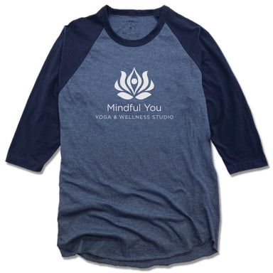 MINDFUL YOU YOGA & WELLNESS | DENIM/NAVY 3/4 SLEEVE | WHITE LOGO