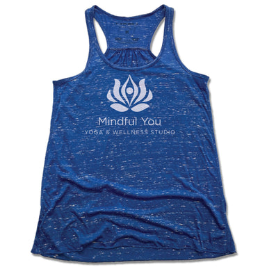 MINDFUL YOU YOGA & WELLNESS | LADIES BLUE FLOWY TANK | WHITE LOGO