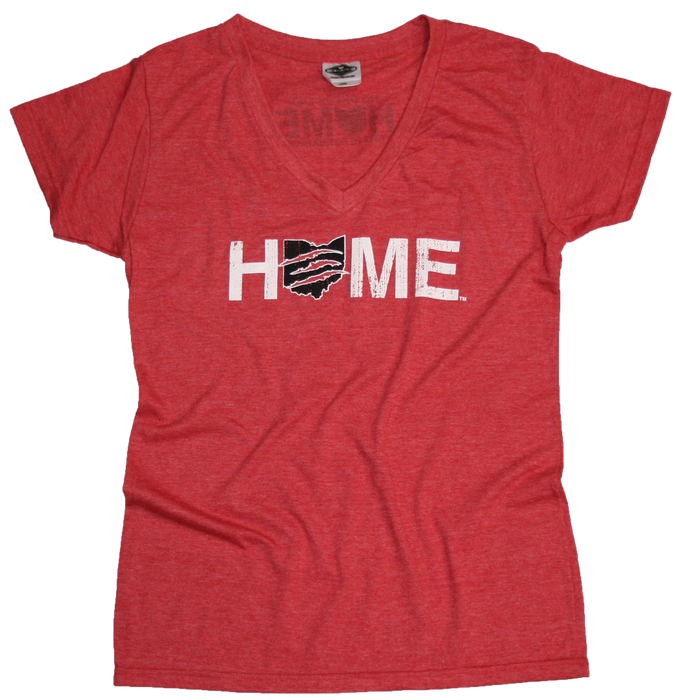 OHIO LADIES RED V-NECK | HOME | CLAW