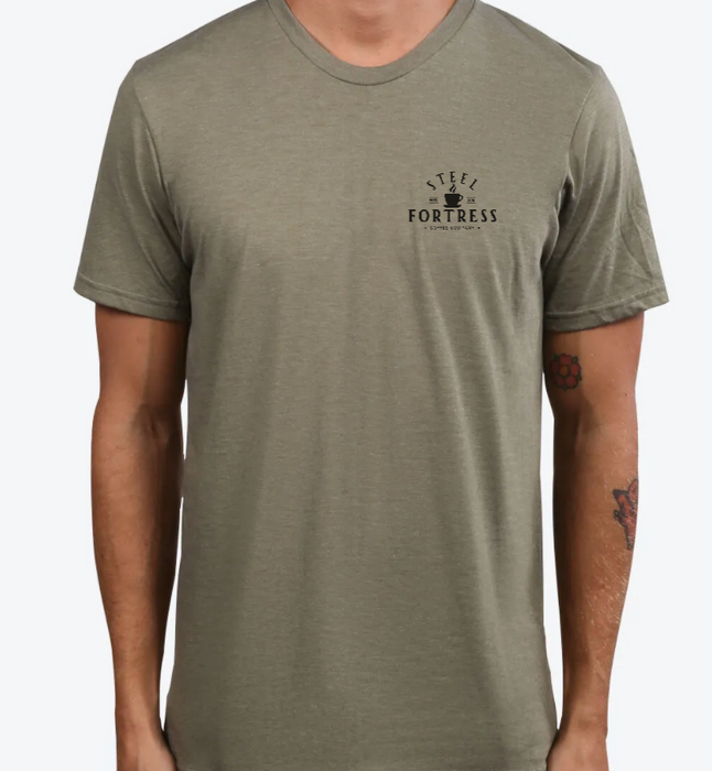 STEEL FORTRESS COFFEE | UNISEX OLIVE Recycled Tri-Blend | CREST