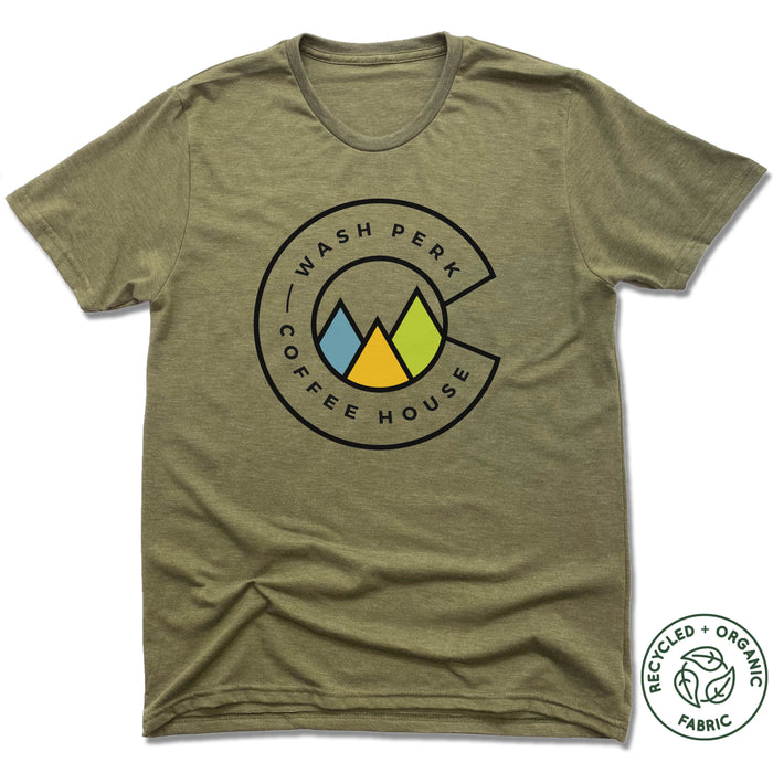 WASHPERK COFFEE HOUSE | UNISEX OLIVE Recycled Tri-Blend | MOUNTAINS