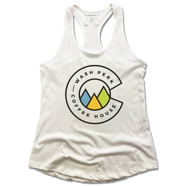 WASHPERK COFFEE HOUSE | LADIES WHITE TANK | MOUNTAINS