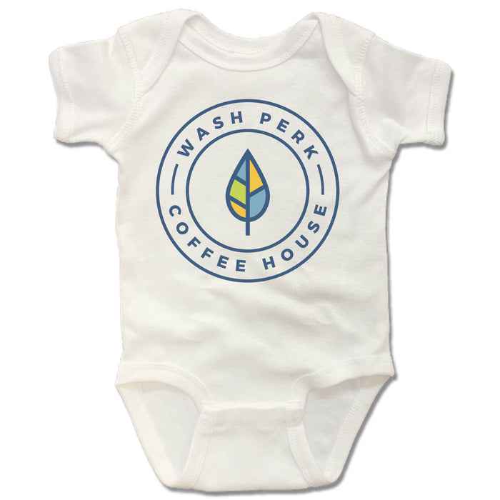 WASHPERK COFFEE HOUSE | WHITE ONESIE | LEAF STAMP