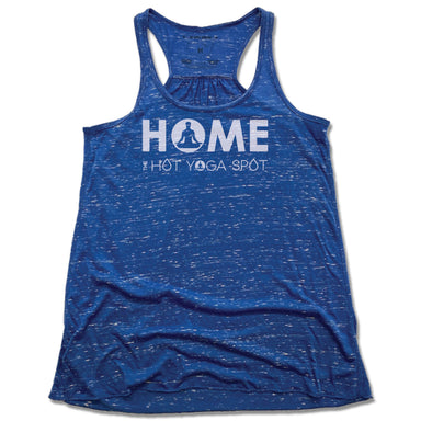 THE HOT YOGA SPOT | LADIES BLUE FLOWY TANK | HOME LOGO WHITE