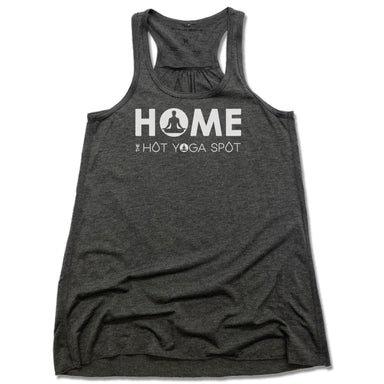 THE HOT YOGA SPOT | LADIES GRAY FLOWY TANK | HOME LOGO WHITE