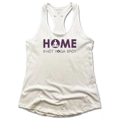 THE HOT YOGA SPOT | LADIES WHITE TANK | HOME LOGO PURPLE