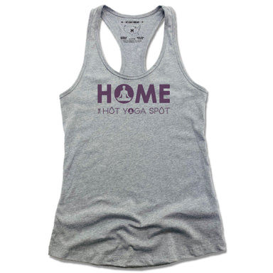 THE HOT YOGA SPOT | LADIES GRAY TANK | HOME LOGO PURPLE
