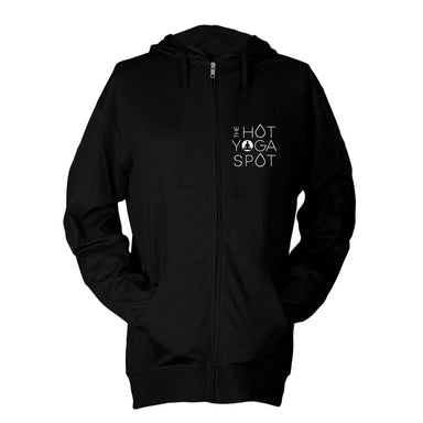 THE HOT YOGA SPOT | ZIP HOODIE | WHITE LOGO