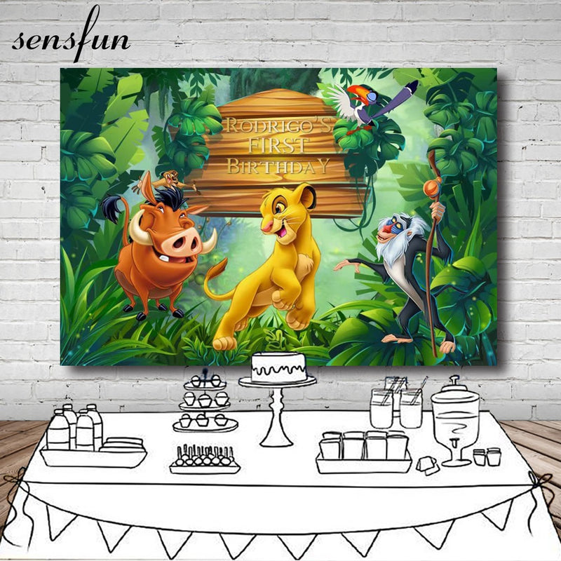 Sensfun 220x150cm Forest Cartoon Lion King Backdrop Boys 1st Birthday Party Backgrounds For Photo Studio Vinyl Polyester