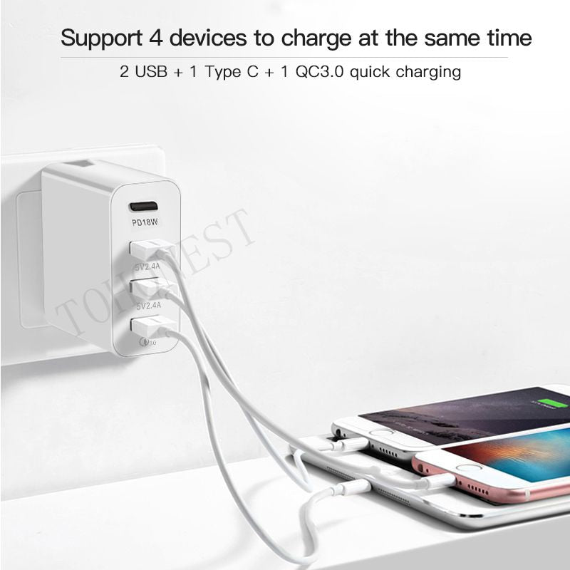 48W Multi Quick Charger PD Type C USB Charger for Samsung iPhone Huawei Tablet QC 3.0 Fast Wall Charger US EU UK AU Plug Adapter