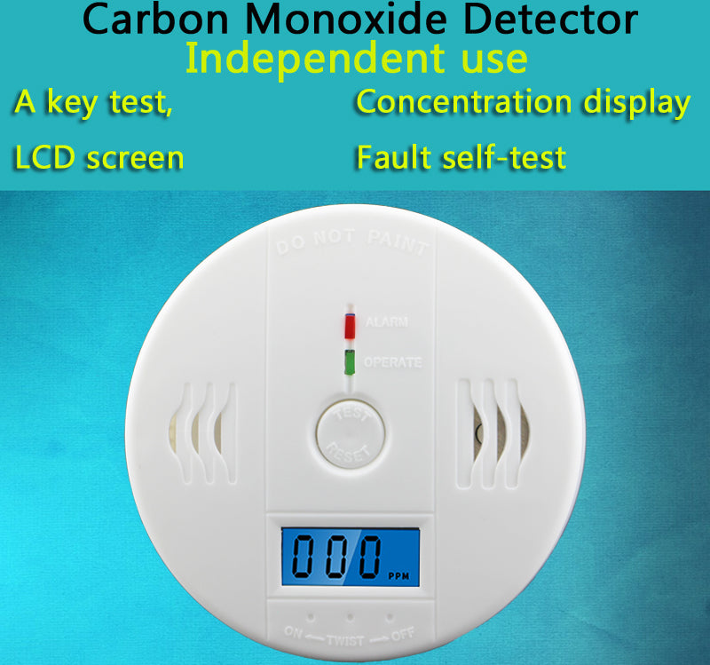 LCD CO Sensor Work alone Built-in 85dB siren sound Independent Carbon Monoxide