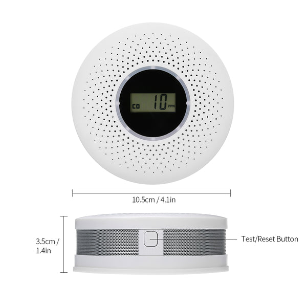 2 in 1 LCD Display Carbon Monoxide & Smoke Combo Detector