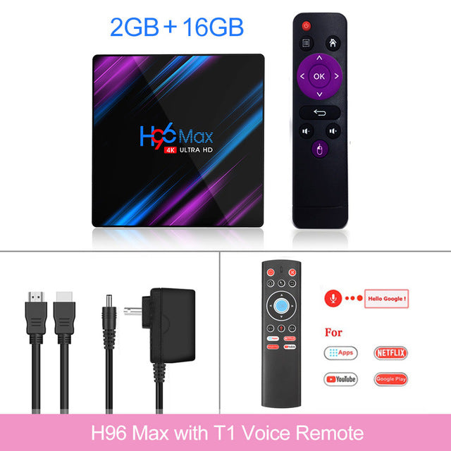 Media player 4K Google Voice Assistant Netflix Youtube H96MAX 2GB16GB