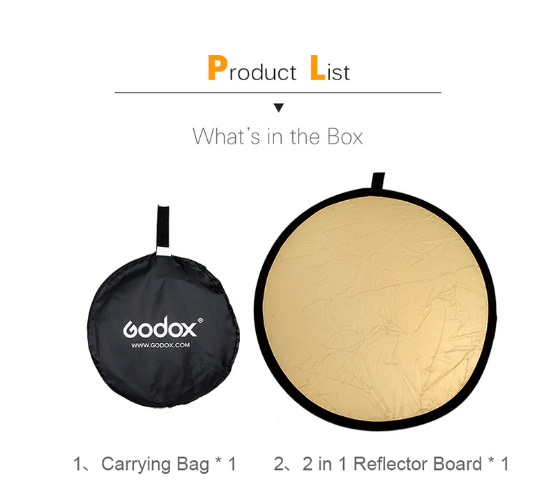 2 in 1 Portable Collapsible Light Round Photography Reflector