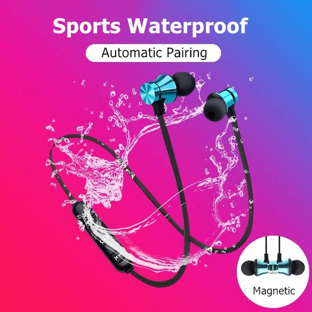 Magnetic Wireless Bluetooth Earphone Stereo Sports Waterproof