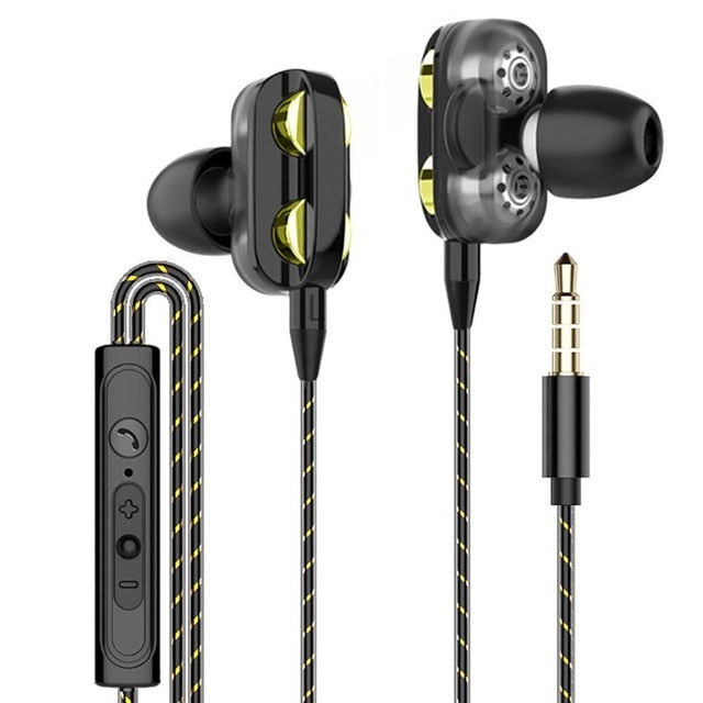 Dual Drive Stereo Earbuds Bass Earphones For IPhone Samsung 3.5mm Sport Gaming Headset With Mic