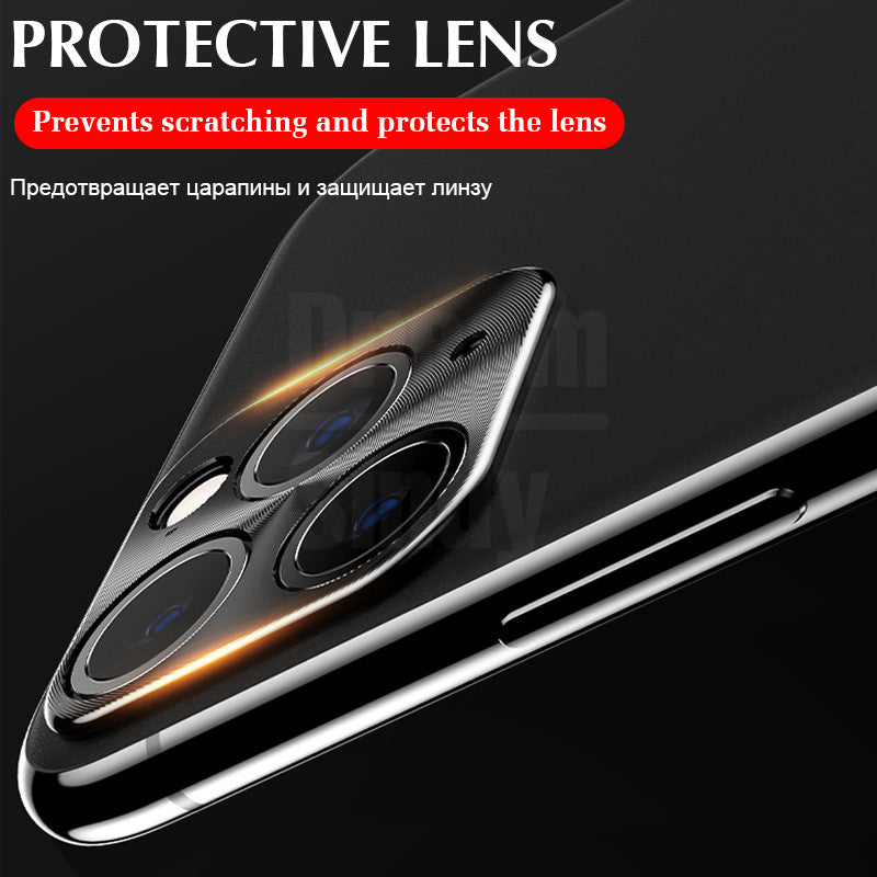 Full Protective Cover Camera Case For IPhone 11 Pro X XR XS Max 8 7 6s Plus Plating Luxury Metal Case Lens Protector Film Glass