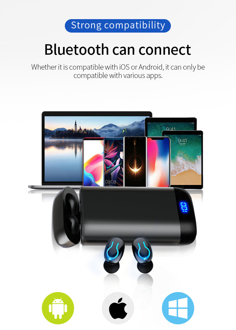 Waterproof Headset With Dual Mic and 6000mAh Battery Charge Case