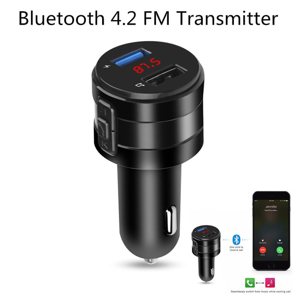 Handsfree Bluetooth 4.2 FM Transmitter Modulator Car Charger