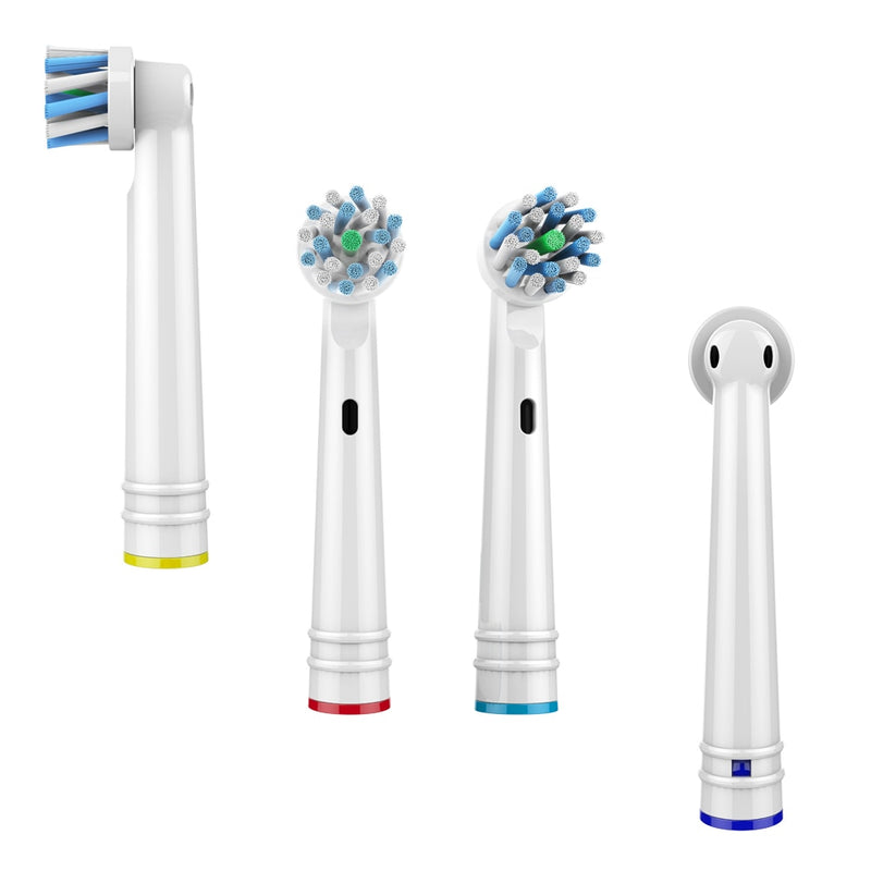 4 PCS Replacement Toothbrush Heads Nozzles For Braun Oral B Electric Toothbrush Soft Bristle,Vitality Dual Clean Cross Action